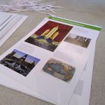 Exhibition panels wait to be erected