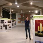 """Prof Stephen Legg stands contemplating the """"Spaces of Internationalism"""" exhibition"""