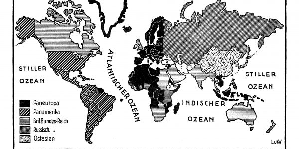 Map of the world purporting to show the spatial distribution of 5 'pan-ideas' across the Earth's surface