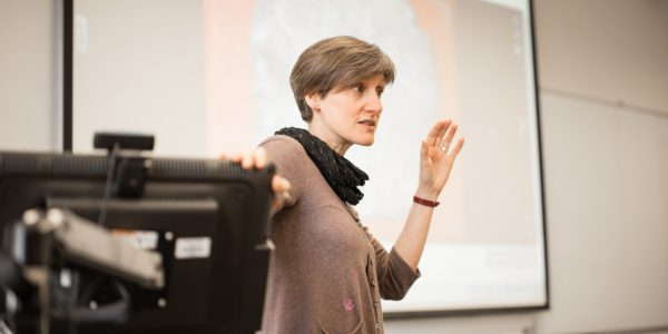Esther Eidinow giving a Lecture in the Humanities Building, University Park
