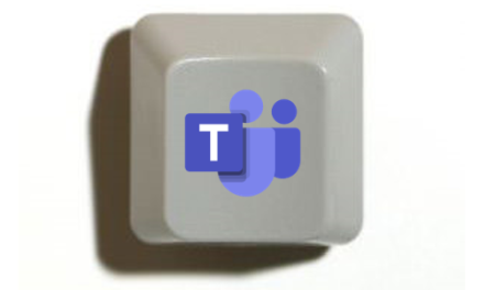 Image of key from keyboard with Teams logo on it