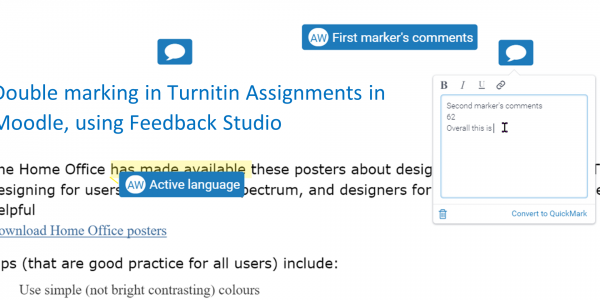 Double Marking in Turnitin Assignments