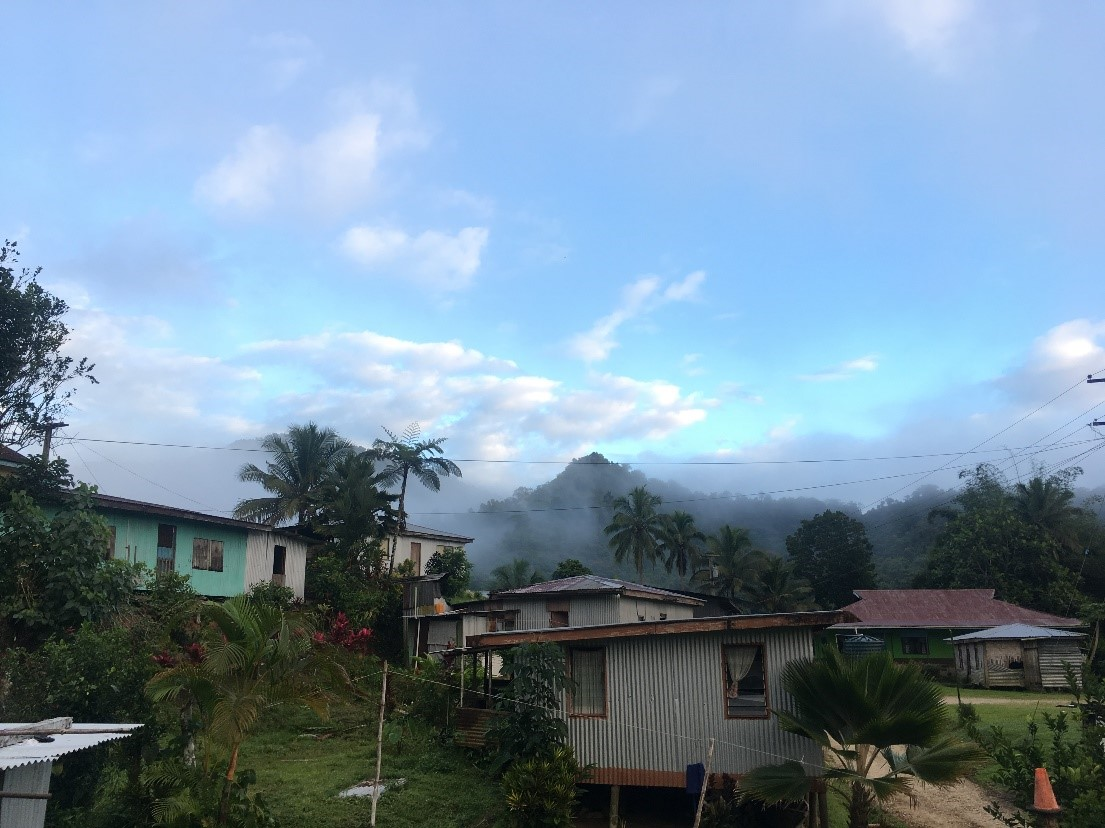 Morning view across the village of Wailotua Number 2 Fiji