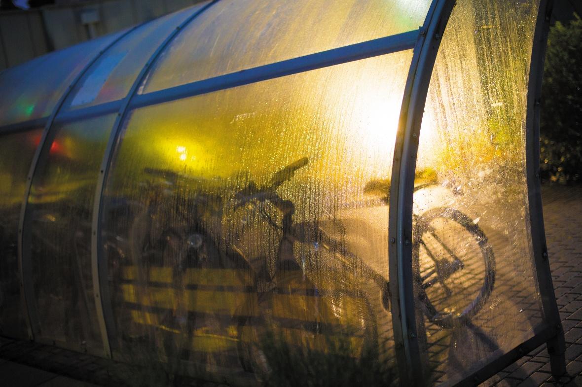 A city bike rack