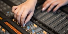 Students working in a Recording Studio situated in the Department of Music, University Park