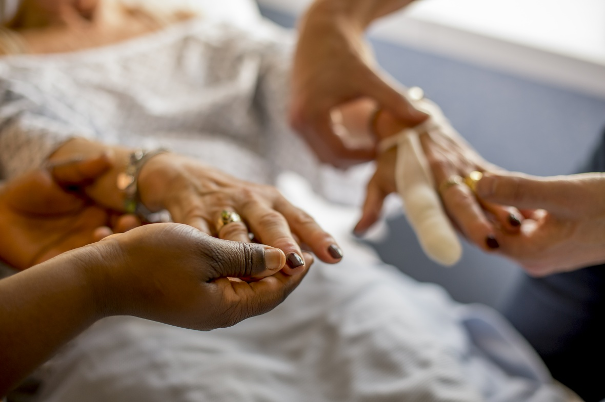 Hands of patients and carers