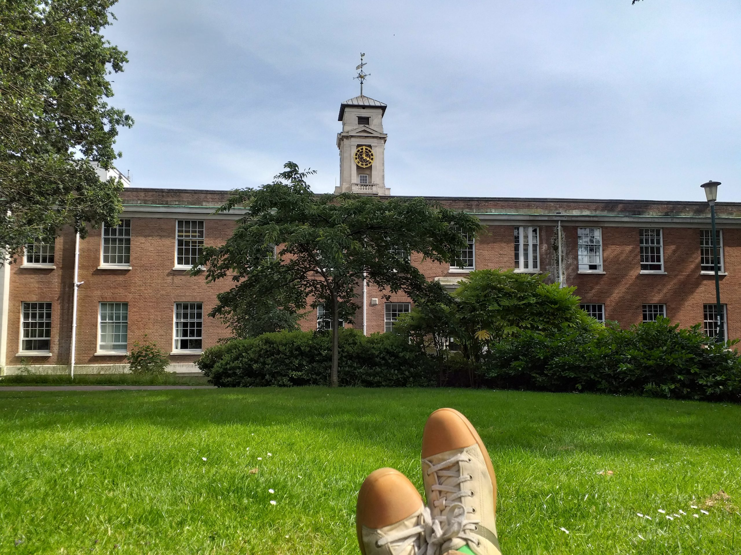 Relaxing on campus with a book!