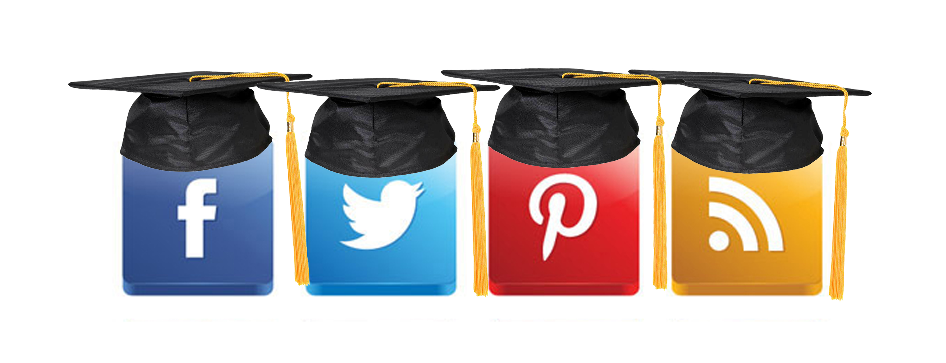 Mortar board with icons for social media Image supplied courtesy of StartBloggingOnline.com