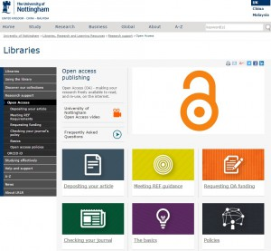 Screenshot of the new open access website menu