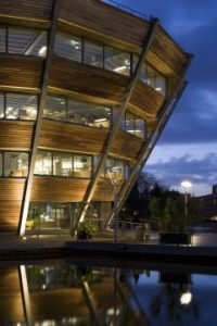 Photo of the Djanogly Learning Resource Centre at night
