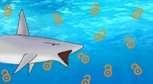 Cartoon- style picture of a shark swimming around open access icons