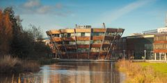 Djanogly Learning Resource Centre on Jubilee Campus next to the lake.