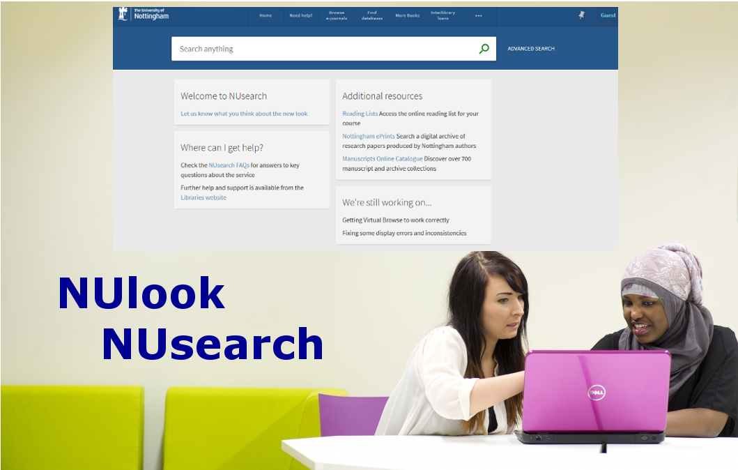 NUlook NUsearch, showing the NUsearch home page and two female students studying a laptop