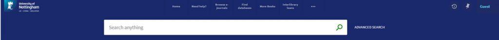 NUsearch menu bar