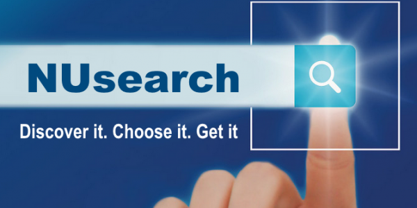 NUsearch logo showing a finger clicking on a search button