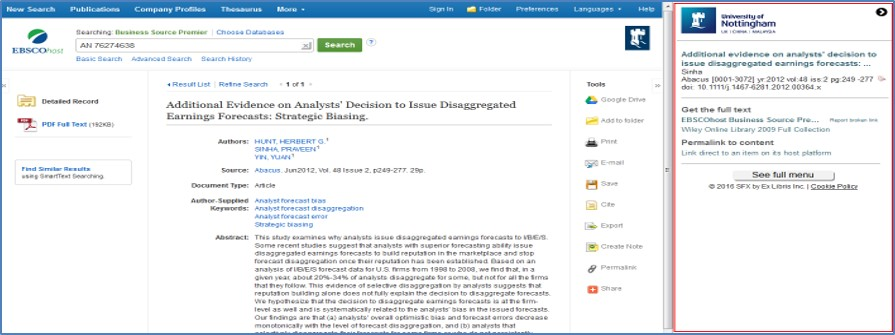 Full text journal article plus options