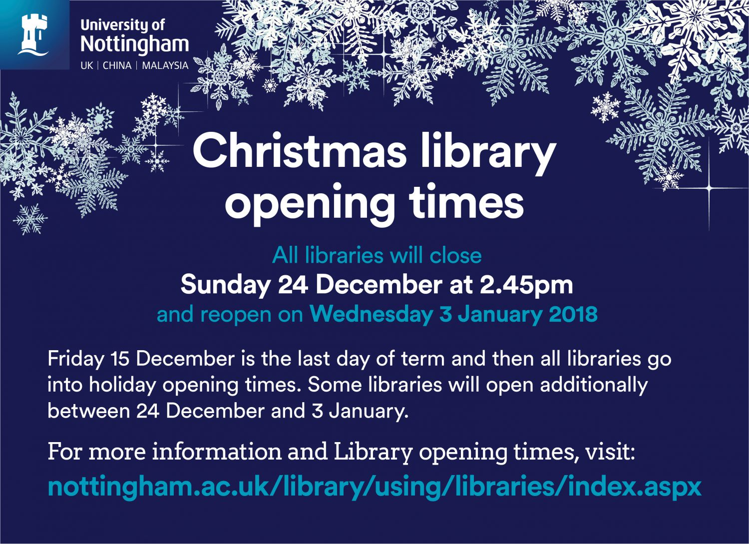 Library Christmas opening times