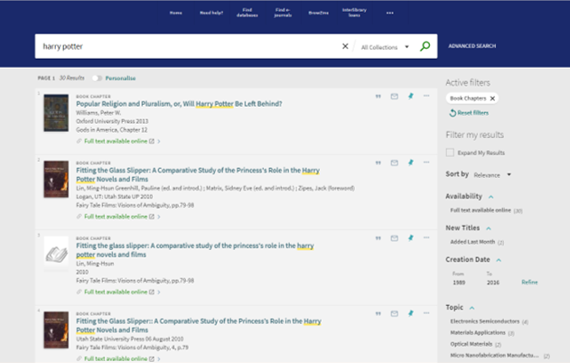 NUsearch Book Chapter Search results list
