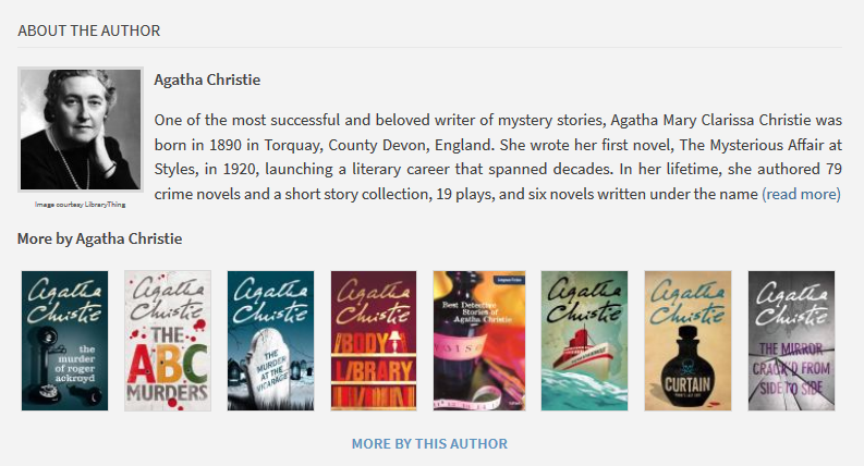 """About the Author"" section for ""Death on the Nile"" by Agatha Christie"