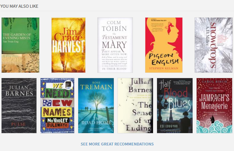 """You may also like"" section showing book covers of other recommended books"