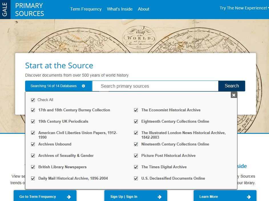 Start page for Gale Primary Sources