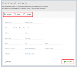 NUsearch Interlibrary loan form