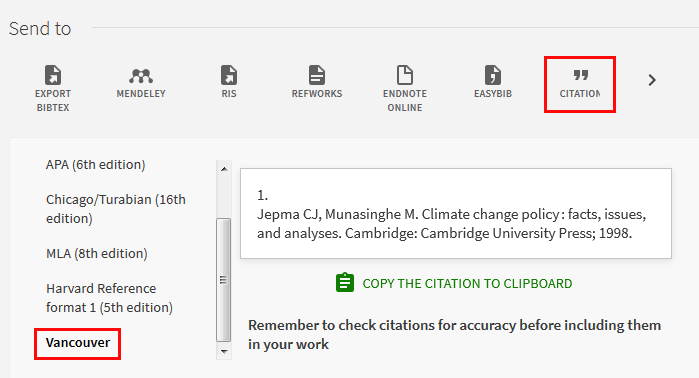 Screenshot showing a citation for a resource in the Vancouver style using the 'Citation' Send to option