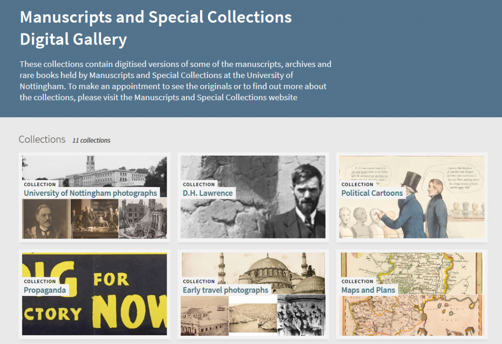 Screenshot of the new Manuscripts and Special Collections Digital Gallery