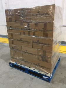 Pallet of books ready to send to BetterWorld Booksfor BWB