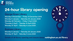 24-hour library opening times for George Green and Business Library