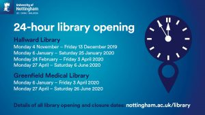 24-hour library opening times for Hallward and Greenfield Medical Library.