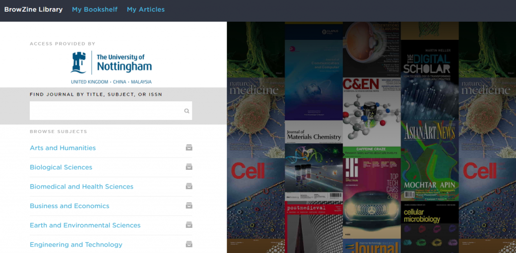 Screenshot of BrowZine homepage showing Journal navigation