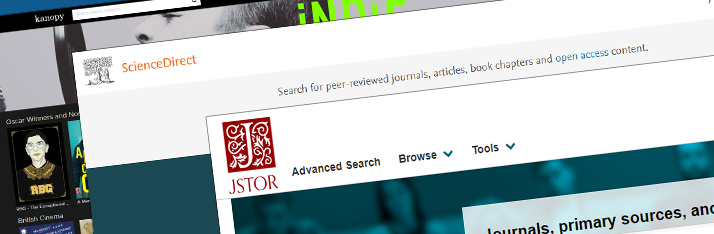 Screenshot of online resouces including Kanopy, ScienceDirect and JStor.
