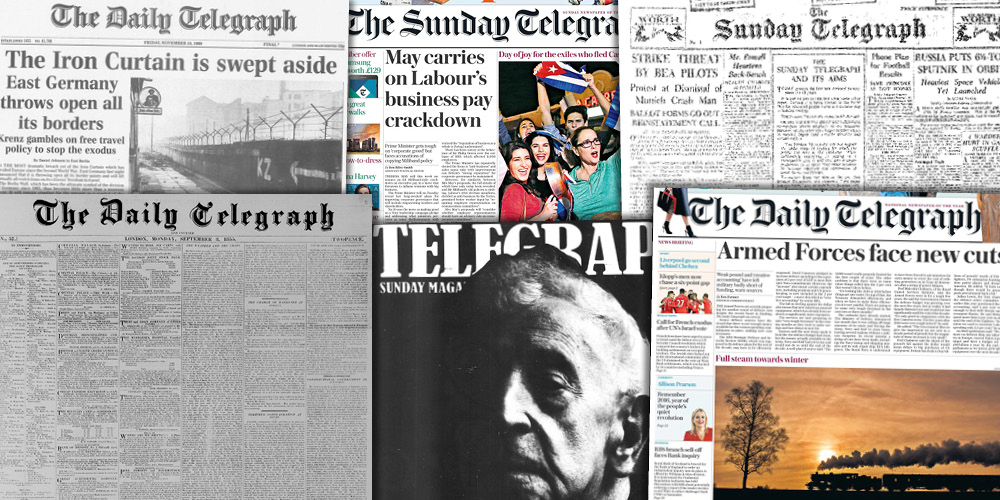 Image of historical editions of The Daily Telegraph newspaper, Telegraph magazine and The Sunday Telegraph