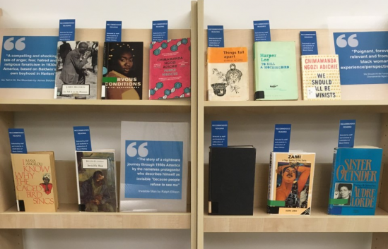 Display of Black History Month titles in Hallward Library