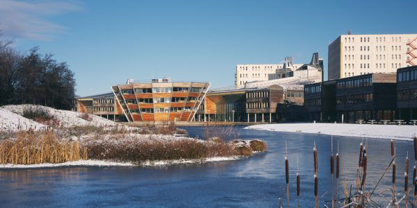 Djanogly Learning Resource Centre in snow