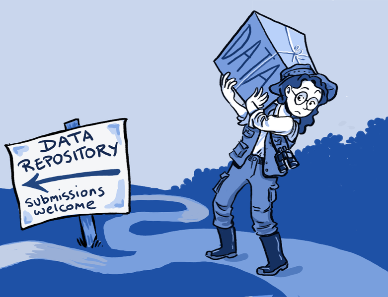 Image showing a researcher holding a heavy box of data walking towards a sign that reads 'Data Repository - Submissions welcome'