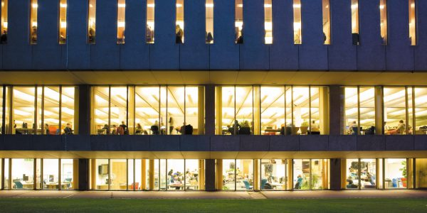 Hallward Library at night