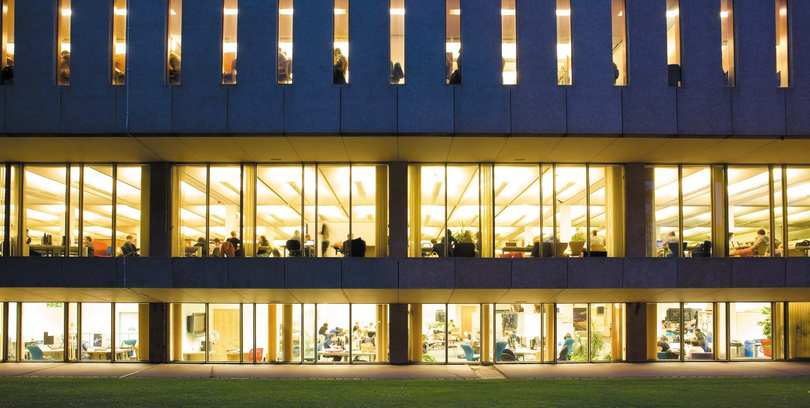 Hallward Library at night