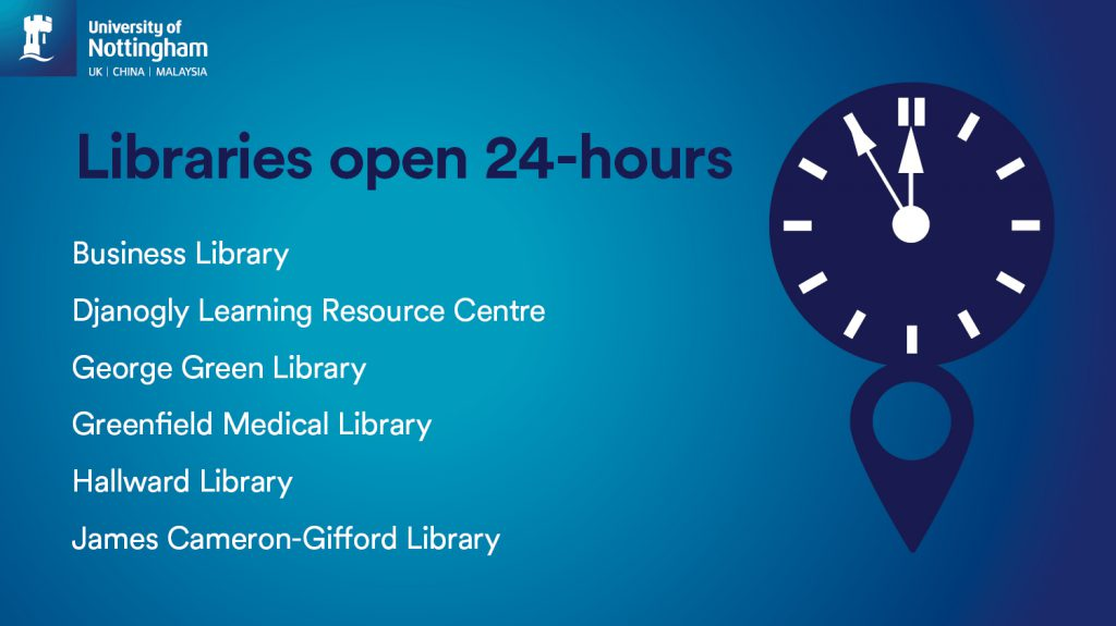 Libraries open 24-hours in January 2020 - Business Library, Djanogly LRC, George Green, Hallward, Greenfield Medical and James Cameron-Gifford libraries