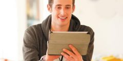 Student accessing resources using an iPad