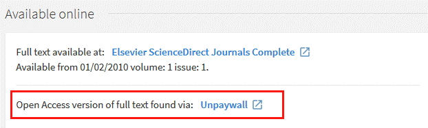 "Available online section of a record in NUsearch showing the link ""Open Access version of full text found via: Unpaywall"""