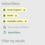 Three locked filters in NUsearch with a yellow background and padlock icon.