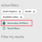 """Three selected filters in Active filters with the """"Remember all filters"""" option underneath"""