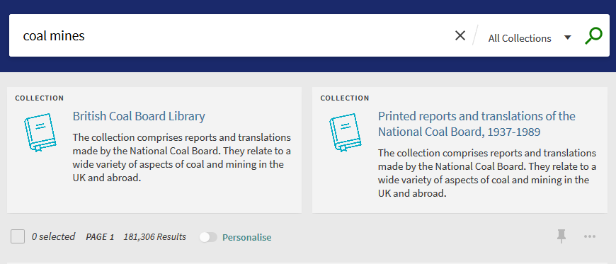 "Search for ""Coal mines"" showing two suggested coal related collections above the search results"