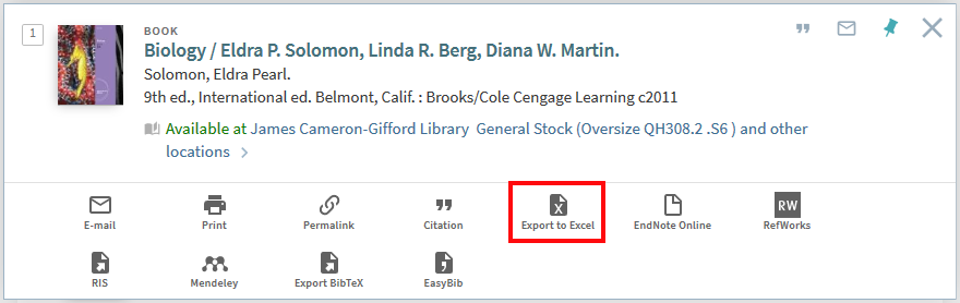 """Screenshot from NUsearch showing showing the new """"Export to Excel"""" option on the Send to menu"""