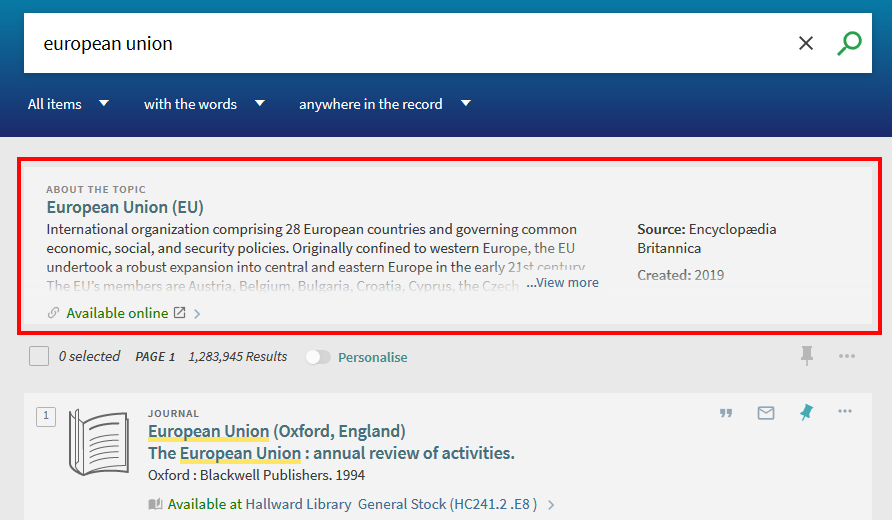 """Screenshot from NUsearch showing the """"About the topic"""" entry at the top of search results"""