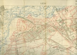 1917 World War One trench map of Lens, Northern France