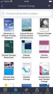 Browzine climate change journals