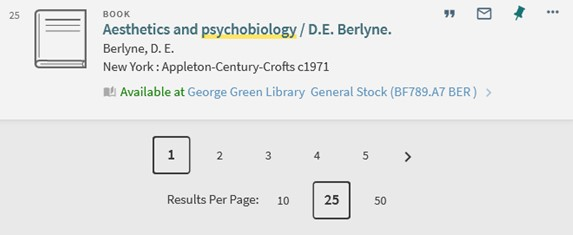 Showing pages and number of results per page options at the bottom of search results,